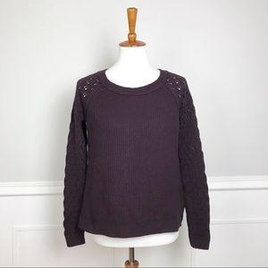 LOFT medium deep plum purple ribbed sweater!